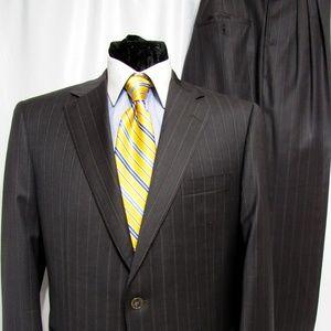 Samuelsohn Brown Stripe 100% Wool Suit